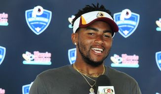 Washington Redskins wide receiver DeSean Jackson addresses members of the media during the team's NFL football training camp in Richmond, Va., Monday, Aug. 3, 2015. (AP Photo/Jason Hirschfeld)