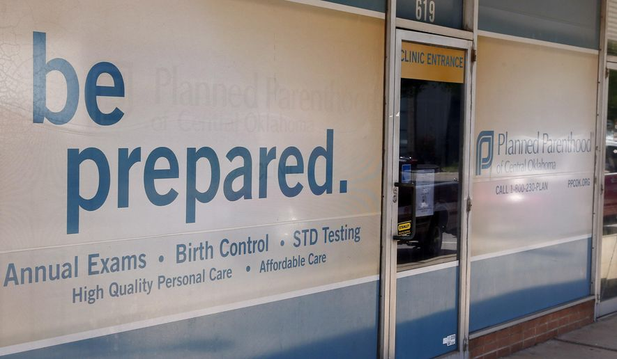 The entrance to a Planned Parenthood Clinic is seen here in Oklahoma City on July 24, 2015. (Associated Press) **FILE**