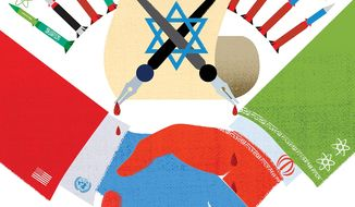 Illustration on the faults and dangers of the Obama/Iran nuclear weapons deal by Linas Garsys/The Washington Times