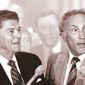 President Ronald Reagan meeting with Sen. Richard Schweiker in 1980. Associated Press photo