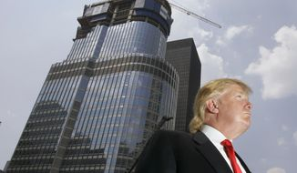 In this photo taken May 24, 2007, Donald Trump is profiled against his 92-story Trump International Hotel & Tower during a news conference on construction progress in Chicago. (AP Photo/Charles Rex Arbogast, File)