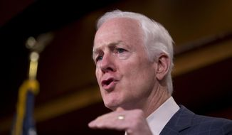 Senate Majority Whip John Cornyn of Texas speaks during a news conference on Capitol Hill in Washington, in this July 29, 2015, file photo. (AP Photo/Manuel Balce Ceneta, File)
