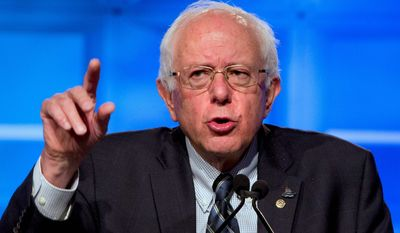 Democratic presidential candidate Sen. Bernard Sanders, I-Vt., speaks at the 2015 International Association of Sheet Metal, Air, Rail, and Transportation Workers (SMART) Conference, Tuesday, July 28, 2015, in Washington. (AP Photo/Jacquelyn Martin)
