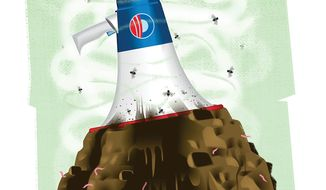 Illustration on Obama's August 5th speech defending hid nuclear deal with Iran by Alexander Hunter/The Washington Times