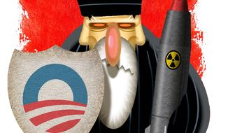 Illustration on Obama's seeming support for Iran's interests in the nuclear arms deal by Alexander Hunter/The Washington Times