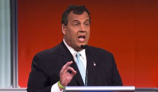 Republican presidential candidate New Jersey Gov. Chris Christie during the first Republican presidential debate at the Quicken Loans Arena Thursday, Aug. 6, 2015, in Cleveland. (AP Photo/John Minchillo) ** FILE **