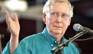 """FILE- In this Aug. 1, 2015, file photo, Senate Majority Leader Mitch McConnell, R-Ky., speaks to the attendees at the Fancy Farm Picnic in Fancy Farm, Ky. There will be no further roll call votes this week,"""" McConnell, told a mostly empty Senate on Wednesday, Aug. 5. The Senate is joining the House in summer recess as Congress sets course for an autumn of showdowns over Iran, spending and Planned Parenthood. (AP Photo/Timothy D. Easley, File)"""
