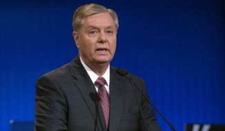 Republican presidential candidate Lindsey Graham speaks during a pre-debate forum at the Quicken Loans Arena, Thursday, Aug. 6, 2015, in Cleveland. Seven of the candidates have not qualified for the prime-time debate. (AP Photo/John Minchillo) ** FILE **
