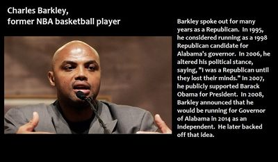 "Charles Barkley, former NBA basketball player, contemplated running for Governor of Alabama - Barkley spoke out for many years as a Republican.  In 1995, he considered running as a 1998 Republican candidate for Alabama's governor.  In 2006, he altered his political stance, saying, ""I was a Republican until they lost their minds."" In 2007, he publicly supported Barack Obama for President.  In 2008, Barkley announced that he would be running for Governor of Alabama in 2014 as an Independent.  He later backed off that idea."
