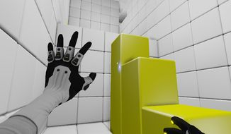 A player manipulates blocks to escape a space cube in the first-person puzzle game Q.U.B.E: Director's Cut.
