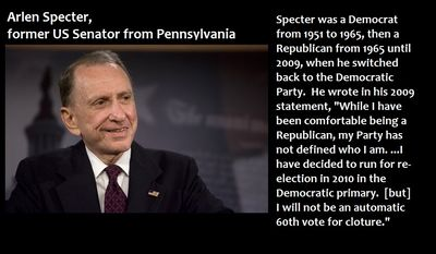 "Arlen Specter, former US Senator from Pennsylvania - Specter was a Democrat from 1951 to 1965, then a Republican from 1965 until 2009, when he switched back to the Democratic Party.  He wrote in his 2009 statement, ""While I have been comfortable being a Republican, my Party has not defined who I am. ...I have decided to run for re-election in 2010 in the Democratic primary.  [but] I will not be an automatic 60th vote for cloture."""