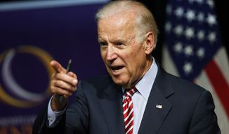 Vice President Joseph R. Biden speaks during a roundtable discussion at the Advanced Manufacturing Center at Community College of Denver on July 21, 2015. (Associated Press) **FILE**