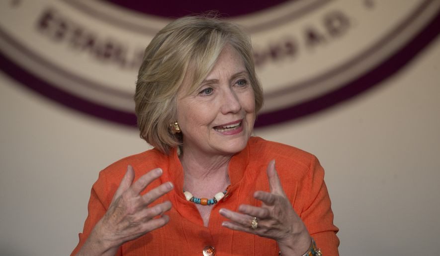 Democratic presidential candidate Hillary Rodham Clinton speaks during a roundtable discussion on home care in Los Angeles on Aug. 6, 2015. (Associated Press)