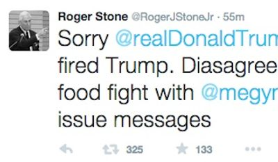 Roger Stone, top political advisor to GOP candidate Donald Trump tweeted Saturday that he 'fired Trump' after the campaign announced it had fired him. (image: screen grab from Twitter @RogerJStoneJr)