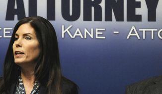 Pennsylvania Attorney General Kathleen G. Kane speaks during a news conference in Scranton on Feb. 13, 2015. Kane, the first woman and first Democrat elected attorney general in Pennsylvania, was charged Aug. 6, 2015, with perjury, obstruction, abuse of office, conspiracy and false swearing. (Butch Comegys/The Times & Tribune via Associated Press) **FILE**