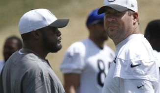 Pittsburgh Steelers head coach Mike Tomlin, left, talks with quarterback Ben Roethlisberger, right, during practice at NFL football training camp in Latrobe, Pa., Monday, Aug. 3, 2015. Roethlisberger did not participate in drills. (AP Photo/Keith Srakocic)