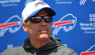 FILE - In this June 16, 2015, file photo, Buffalo Bills head coach Rex Ryan speaks to the media during NFL football minicamp in Orchard Park, N.Y. In a little over six months, Rex Ryan has given a brash, bold voice and swagger to a Buffalo Bills franchise that's spent much of the past 15 years in desperate need of relevance. (AP Photo/Bill Wippert, File)