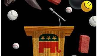 Illustration on media questioning of presidential candidates by Alexander Hunter/The Washington Times