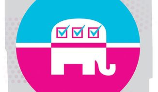 Illustration on a GOP plan to effectively court woman voters by Linas Garsys/The Washington Times