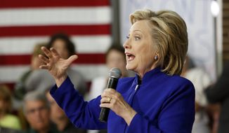 Democratic presidential candidate Hillary Rodham Clinton speaks to voters during a campaign stop at River Valley Community College Tuesday, Aug. 11, 2015, in Claremont, N.H. (AP Photo/Jim Cole) ** FILE **