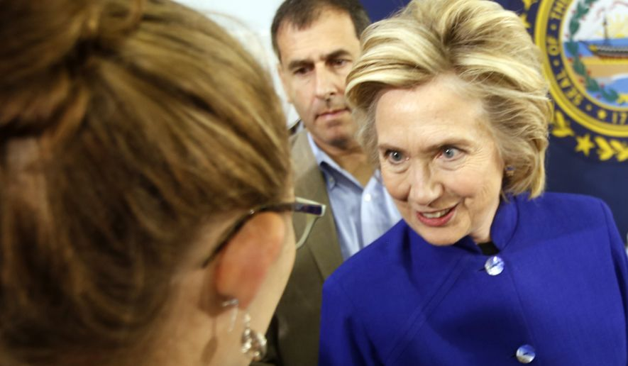 Democratic presidential candidate Hillary Rodham Clinton meets voters during a campaign stop at River Valley Community College in Claremont, N.H., on Aug. 11, 2015. (Associated Press)
