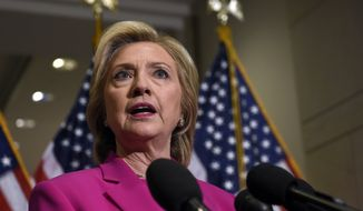 Democratic presidential candidate Hillary Rodham Clinton speaks to reporters on Capitol Hill in Washington, Tuesday, July 14, 2015. (Associated Press) **FILE**