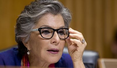 In the photo taken July 15, 2015, Sen. Barbara Boxer, D-Calif. speaks on Capitol Hill in Washington. The president's Cabinet, the diplomatic corps and members of the Supreme Court, six of whom are Catholic, are expected to join senators and House members in the seats on the floor of the chamber. The House recently took the unusual step of voting to limit the people who can sit in those prime seats, essentially barring former members.  (AP Photo/Manuel Balce Ceneta)