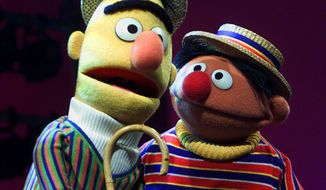 "In this Aug. 22, 2001 photo, Muppets Bert, left, and Ernie, from the children's program ""Sesame Street,"" are shown in New York. Under a new partnership announced Thursday, Aug. 13, 2015, by Sesame Workshop and HBO, the premium cable channel will carry the next five seasons of ""Sesame Street"" on HBO and its related platforms. PBS, the long-time home of the children's program, will continue to air the show as well. (AP Photo/Beth A. Keiser/File)"
