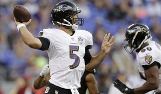 Baltimore Ravens quarterback Joe Flacco (5) passes during the first half of an NFL preseason football game against the New Orleans Saints in Baltimore, Thursday, Aug. 13, 2015. (AP Photo/Patrick Semansky)