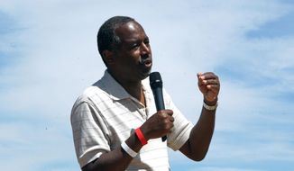 Republican presidential candidate Ben Carson speaks to hundreds of supporters at the Inaugural Basque Fry at Corley Ranch in Gardnerville, Nev., on Saturday, Aug. 15, 2015. (AP Photo/Lance Iversen) ** FILE **