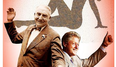Illustration on parallels between Warren G. Harding and Bill Clinton by Alexander Hunter/The Washington Times