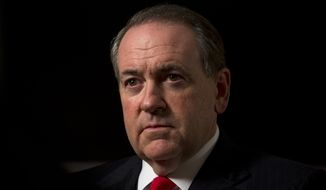 Republican presidential hopeful Mike Huckabee looks on during an interview with The Associated Press in Jerusalem, Wednesday, Aug. 19, 2015. (AP Photo/Sebastian Scheiner) ** FILE **