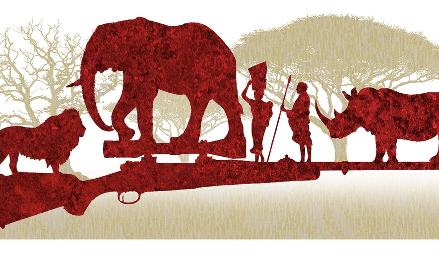 Illustration on the greater value of African trophy hunting by Alexander Hunter/The Washington Times