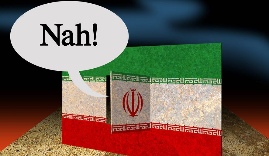 Illustration on the possibility of Iran's rejection the Obama arms deal by Alexander Hunter/The Washington Times