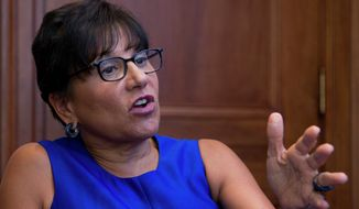 Commerce Secretary Penny Pritzker gestures during an interview with The Associated Press following the first U.S.-Ukraine Business Forum co-hosted by the U.S. Chamber of Commerce and the Commerce Department in Washington on July 13, 2015. (Associated Press) **FILE**