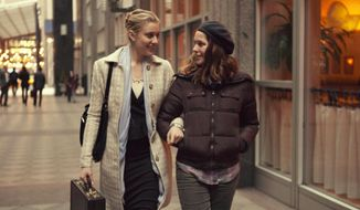 "Greta Gerwig (left) as Brooke, and Lola Kirke, as Tracy, in a scene from ""Mistress America."" (Fox Searchlight Pictures via AP)"