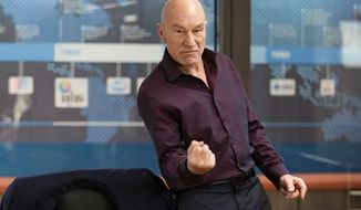 "This photo provided by Starz Entertainment, LLC shows, Patrick Stewart as Walter Blunt, in a scene from ""Blunt Talk."" The show debuts Saturday, Aug. 22, 2015, at 9 p.m. ET/PT on Starz. (Justina Mintz/Starz Entertainment, LLC via AP)"