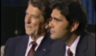 "Evangelist James Robison and Ronald Reagan, August 21, 1980, at Reunion Arena in Dallas, Texas. Image is from a screenshot of the video, also used in the PBS documentary ""With God on Our Side."""