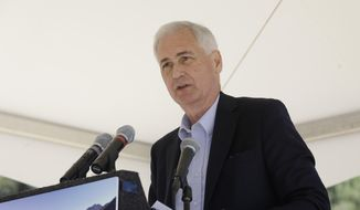 """Rep. Tom McClintock, R-Calif., discuss the need for forest management to help reduce the effects of wild fires at the 19th Annual Lake Tahoe Summit at Zephyr Cove, Monday, Aug. 24, 2015, in South Lake Tahoe, Nev. The theme of the the two-day summit  is """"Connecting Lake Tahoe's Environment and Economy throughout Innovation and Transportation."""" (AP Photo/Rich Pedroncelli) **FILE**"""