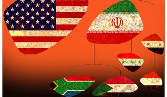 Illustration on the African political consequences U.S. legitimization of Iran through the Obama nuclear arms deal by Alexander Hunter/The Washington Times