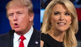 This file photo combination made from Aug. 6, 2015, photos shows Republican presidential candidate Donald Trump, left, and Fox News Channel host and moderator Megyn Kelly during the first Republican presidential debate at the Quicken Loans Arena, in Cleveland. (AP Photo/John Minchillo, File)