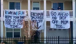 The Sigma Nu fraternity chapter at Virginia's Old Dominion University was suspended after members of the fraternity hung offensive banners from an off campus balcony as freshman moved in to their new dorms. (image: screen grab from Twitter @nerdbaitplus3)