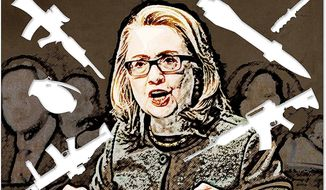 Hillary's War Illustration by Greg Groesch/The Washington Times