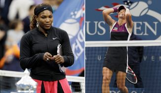 ADVANCE FOR WEEKEND EDITIONS, AUG. 29-30 - FILE - At left, in a Sept. 11, 2011, file photo, Serena Williams looks at the championship trophy after losing the women's championship match to Samantha Stosur at the U.S. Open tennis tournament in New York. At right, also in a Sept. 11, 2011, file photo,  Samantha Stosur reacts after winning the women's championship match against Serena Williams at the U.S. Open tennis tournament in New York. (AP Photo/File)