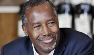 Republican presidential candidate Ben Carson is interviewed in Little Rock, Ark., Thursday, Aug. 27, 2015. (AP Photo/Danny Johnston) ** FILE **