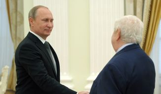 Syrian Foreign Minister Walid al-Mualem, right, meets with Russian President Vladimir Putin in Moscow's Kremlin, Russia on Monday, June 29, 2015. (Alexei Nikolsky/RIA Novosti, Kremlin Pool Photo via AP) ** FILE **