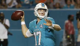 Miami Dolphins quarterback Ryan Tannehill (17) looks to pass during the first half of a preseason NFL football game, Saturday, Aug. 29, 2015 in Miami Gardens, Fla. (AP Photo/Lynne Sladky)