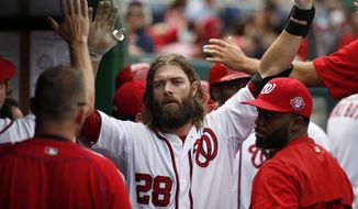 Washington Nationals' Jayson Werth, center, celebrates his two-run home run during the third inning of a baseball game against the Miami Marlins at Nationals Park, Sunday, Aug. 30, 2015, in Washington. (AP Photo/Alex Brandon)