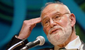 Dr. Oliver Sacks speaks about Alzheimer's disease to an audience at Fairfield University in Fairfield, Conn, in this Oct. 26, 2005, file photo. Sacks, a neurologist and writer, died Sunday, Aug. 30, 2015. (Johnathon Henninger/Connecticut Post via AP, File)
