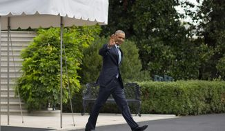 President Barack Obama waves as he walks out of the White House in Washington, Monday, Aug. 31, 2015, to board Marine One helicopter on the South Lawn for a short trip to Andrews Air Force Base, Md., before traveling to Alaska for a three-day tour of the nation's largest state. (AP Photo/Pablo Martinez Monsivais)